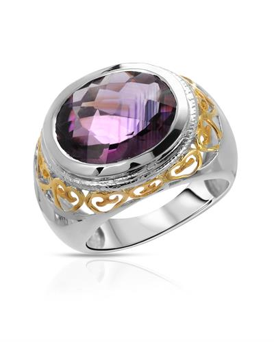 Brand New Ring with 6.92ctw amethyst 925 Two tone sterling silver