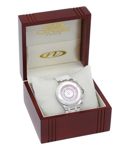 Oniss ON669-L/WT/PK PARIS Brand New Quartz date Watch with 0ctw of Precious Stones - cubic zirconia and mother of pearl