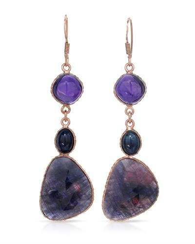 Brand New Earring with 52.18ctw of Precious Stones - amethyst, sapphire, and sapphire 10K/925 Rose Gold plated Silver
