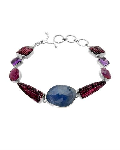 Brand New Bracelet with 43.3ctw of Precious Stones - amethyst, sapphire, and tourmaline 925 Silver sterling silver