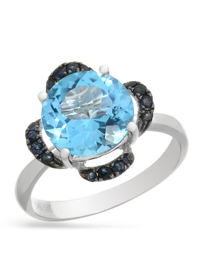 Brand New Ring with 4.1ctw of Precious Stones - sapphire and topaz 14K White gold
