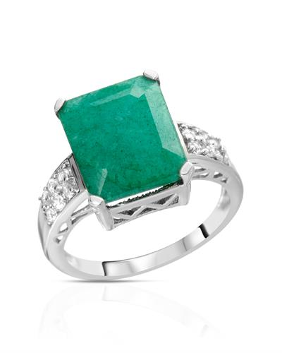 Brand New Ring with 6.54ctw of Precious Stones - emerald and topaz 925 Silver sterling silver