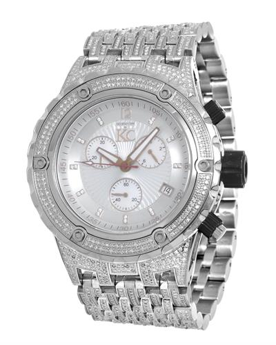 Techno Com by KC WA009394 Brand New Japan Quartz date Watch with 8ctw of Precious Stones - diamond and mother of pearl