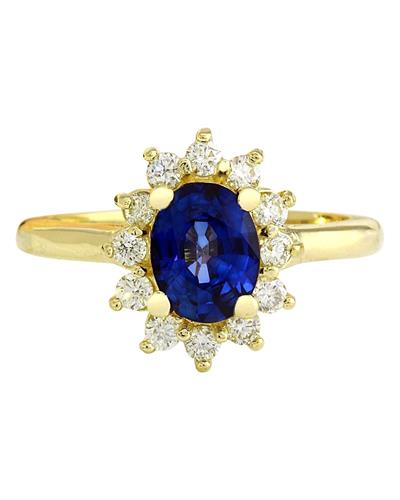 2.30 Carat Natural Sapphire 14K Solid Yellow Gold Diamond Ring
