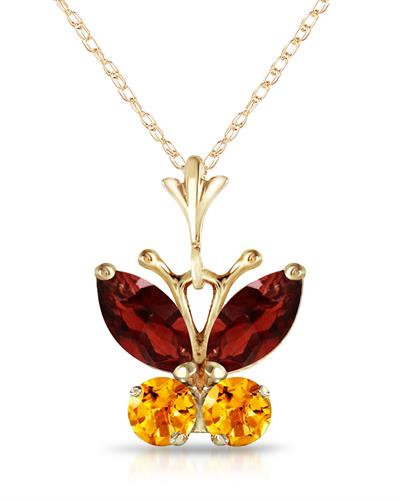 Magnolia Brand New Necklace with 0.6ctw of Precious Stones - citrine and garnet 14K Yellow gold