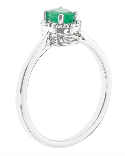 Brand New Ring with 0.46ctw of Precious Stones - diamond and emerald 925 Silver sterling silver