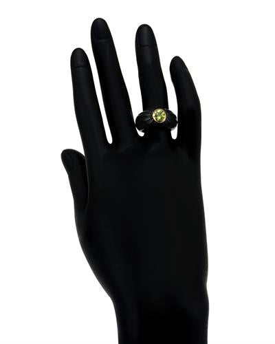 Brand New Ring with 0.75ctw of Precious Stones - onyx and peridot 14K Yellow gold