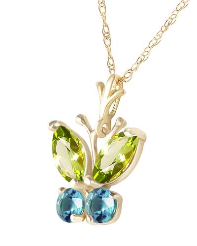 Magnolia Brand New Necklace with 0.6ctw of Precious Stones - peridot and topaz 14K Yellow gold