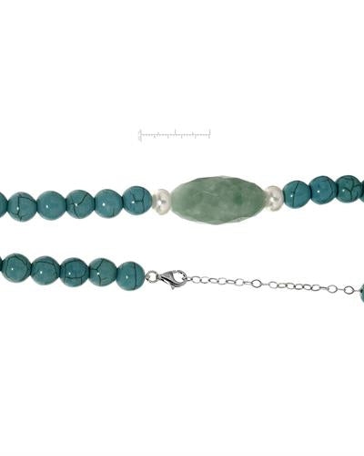 PEARL LUSTRE Brand New Necklace with 0ctw of Precious Stones - amazonite, pearl, and turquoise 925 Silver sterling silver