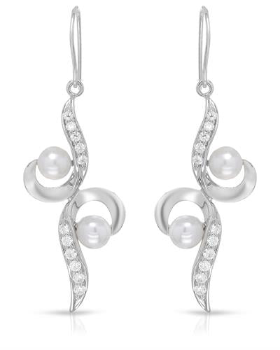 Brand New Earring with 0ctw of Precious Stones - cubic zirconia and pearl 925 Silver sterling silver