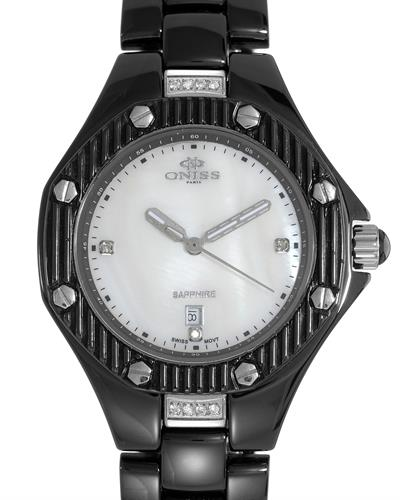 Oniss Paris Brand New Swiss Quartz date Watch with 0.03ctw of Precious Stones - crystal, diamond, and mother of pearl