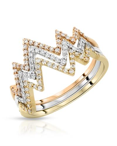 Whitehall Brand New Ring with 0.41ctw diamond 14K Three tone gold