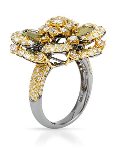 Brand New Ring with 3.83ctw of Precious Stones - diamond, diamond, and diamond 18K Two tone gold