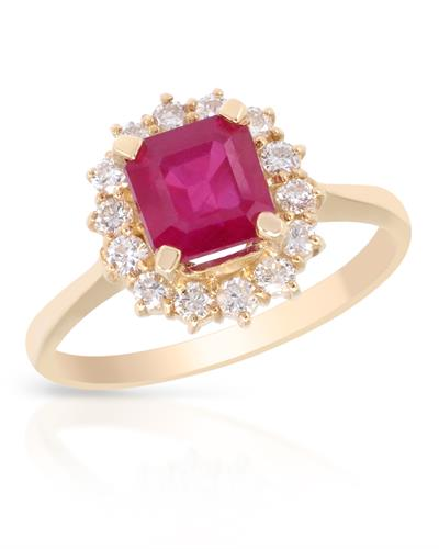 Brand New Ring with 2.25ctw of Precious Stones - diamond and ruby 14K Yellow gold