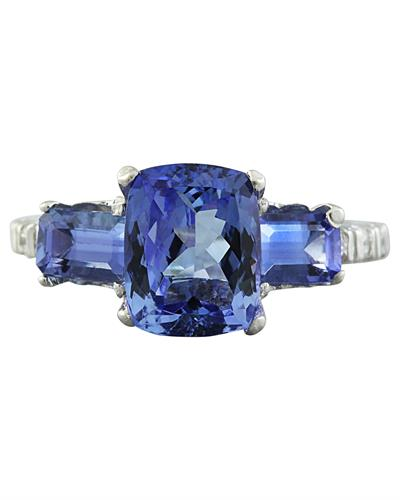 Brand New Ring with 2.87ctw of Precious Stones - diamond and tanzanite 14K White gold