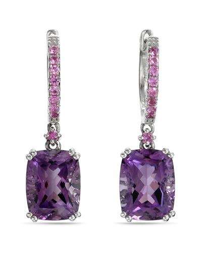 Brand New Earring with 4.43ctw of Precious Stones - amethyst and sapphire 14K White gold
