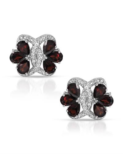 Brand New Earring with 10.38ctw of Precious Stones - garnet and topaz 925 Silver sterling silver