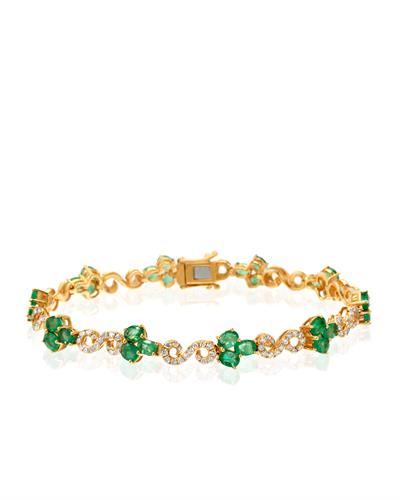 Julius Rappoport Brand New Bracelet with 6.12ctw of Precious Stones - diamond and emerald 14K Yellow gold