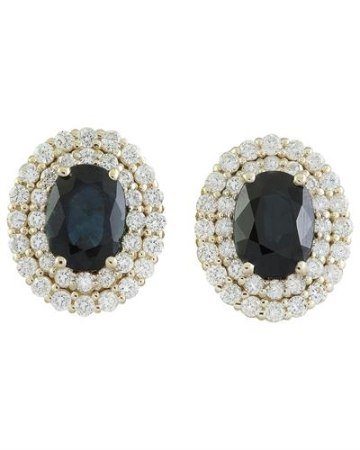 3.70 Carat Sapphire 14K Yellow Gold Diamond Earrings