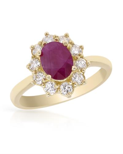 Brand New Ring with 2.45ctw of Precious Stones - diamond and ruby 14K Yellow gold