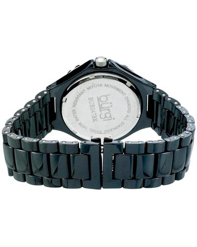 burgi BUR047BK Brand New Quartz Watch with 0.005ctw of Precious Stones - crystal, diamond, and mother of pearl