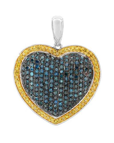 Lundstrom Brand New Pendant with 1.2ctw of Precious Stones - diamond and diamond 10K White gold