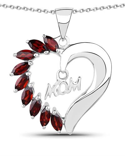 Brand New Necklace with 1.8ctw garnet 925 Silver sterling silver