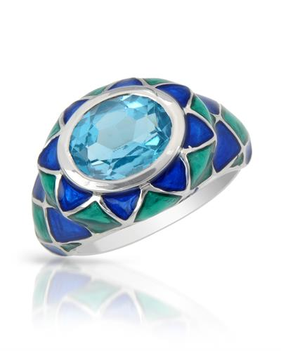 Brand New Ring with 3.25ctw topaz  Two tone Enamel and 925 Silver sterling silver