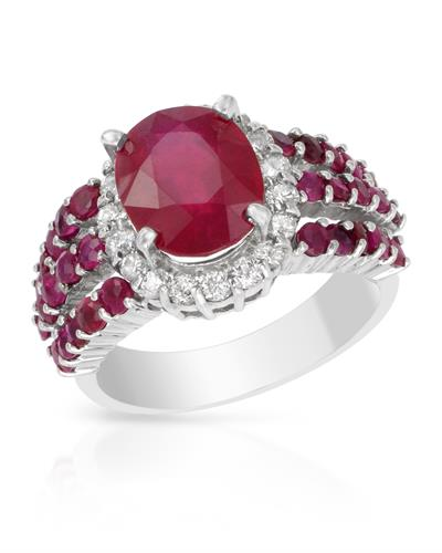 Brand New Ring with 6.17ctw of Precious Stones - diamond, ruby, and ruby 14K White gold