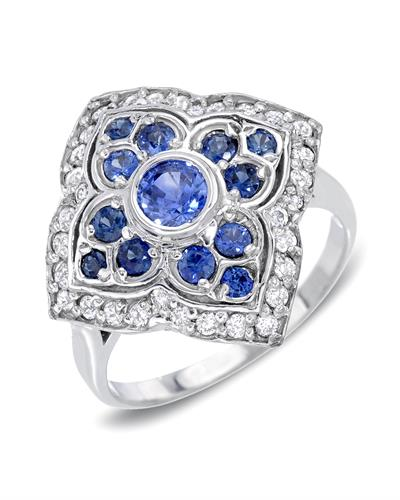 Brand New Ring with 1.9ctw of Precious Stones - diamond and sapphire 14K White gold