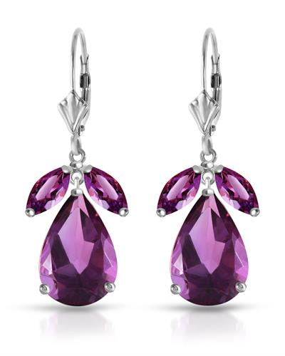 Magnolia Brand New Earring with 13ctw amethyst 14K White gold
