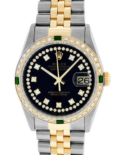Rolex PreOwned Automatic date Watch with 1.3ctw of Precious Stones - diamond and emerald