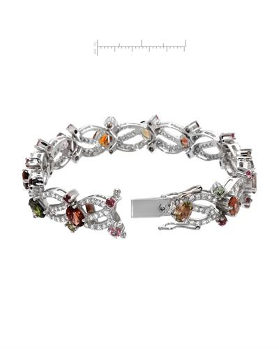 Brand New Bracelet with 15.47ctw of Precious Stones - cubic zirconia and tourmaline 925 Silver sterling silver