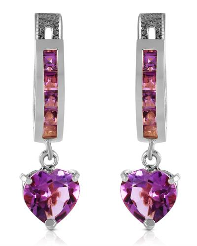 Magnolia Brand New Earring with 3.2ctw amethyst 14K White gold
