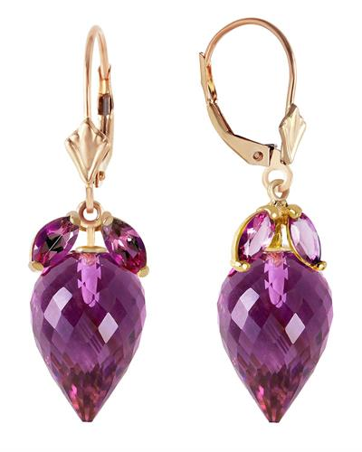 Magnolia Brand New Earring with 20ctw amethyst 14K Yellow gold