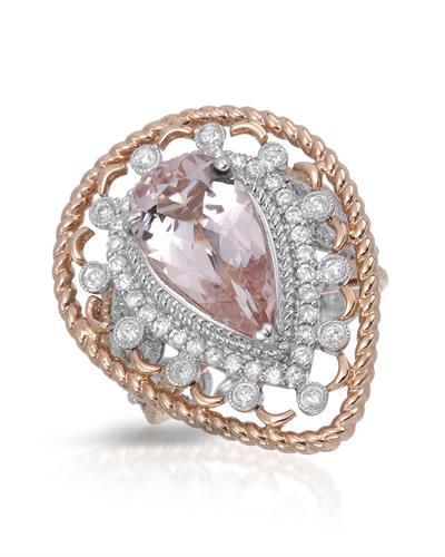 Julius Rappoport Brand New Ring with 4.43ctw of Precious Stones - diamond and morganite 14K Two tone gold