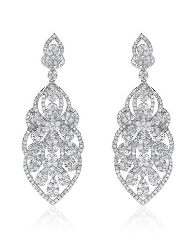 Julius Rappoport Brand New Earring with 5.85ctw diamond 18K White gold