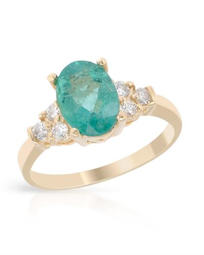 Brand New Ring with 1.88ctw of Precious Stones - diamond and emerald 14K Yellow gold