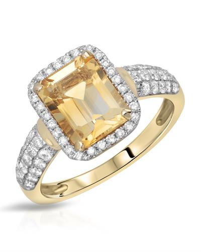 Lundstrom Brand New Ring with 2.5ctw of Precious Stones - citrine and diamond 14K Yellow gold
