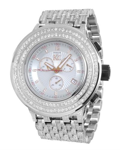 Techno Com by KC WA005332 Brand New Japan Quartz date Watch with 12.5ctw of Precious Stones - diamond and mother of pearl
