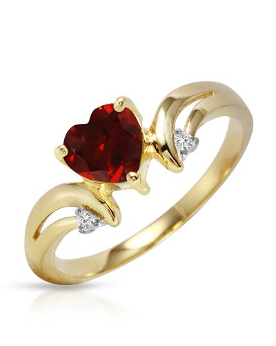 Magnolia Brand New Ring with 1.26ctw of Precious Stones - diamond and garnet 14K Yellow gold