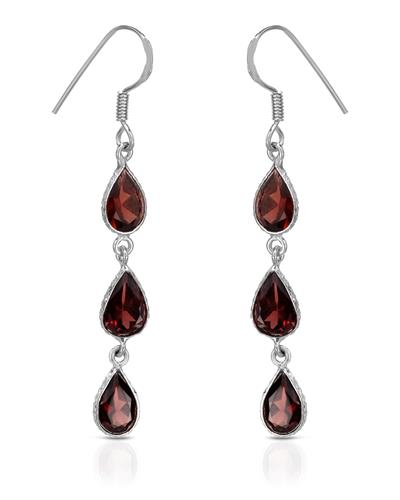 Brand New Earring with 7.9ctw garnet 925 Silver sterling silver