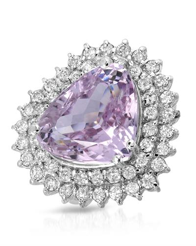 Brand New Ring with 10.45ctw of Precious Stones - diamond and kunzite 14K White gold