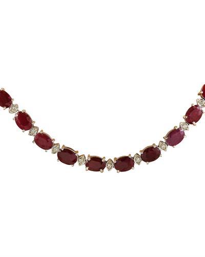 Brand New Necklace with 46.8ctw of Precious Stones - diamond and ruby 14K White gold