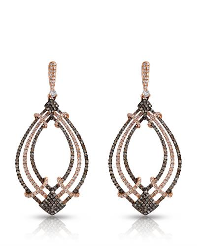 Brand New Earring with 2.42ctw of Precious Stones - diamond and diamond 18K Rose gold