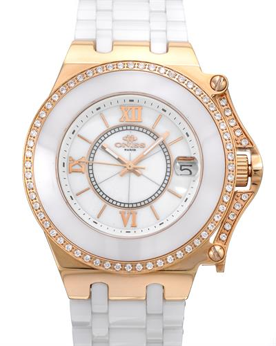 Oniss ON669-LRG/WHT PARIS Brand New Swiss Quartz date Watch with 0ctw of Precious Stones - cubic zirconia and mother of pearl