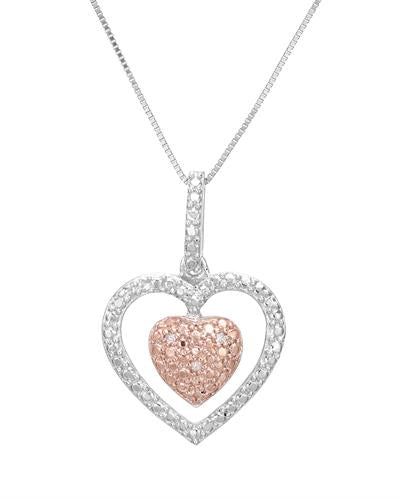 Brand New Necklace with 0.02ctw diamond 925 Two tone sterling silver