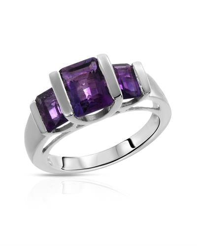Brand New Ring with 2.7ctw of Precious Stones - amethyst and amethyst 925 Silver sterling silver