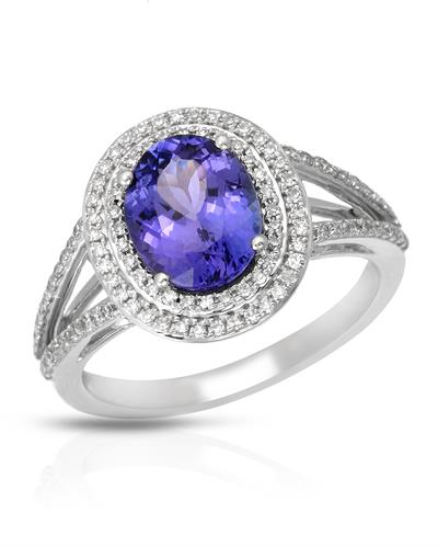 Julius Rappoport Brand New Ring with 2.43ctw of Precious Stones - diamond and tanzanite 14K White gold