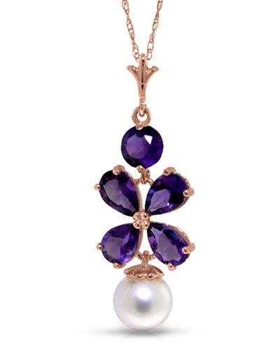 Magnolia Brand New Necklace with 3.15ctw of Precious Stones - amethyst and pearl 14K Rose gold